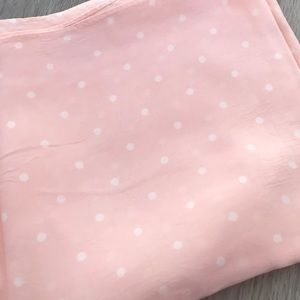 Pink With white polka dot scarf